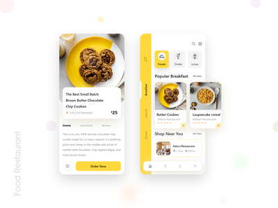 Food Order Mobile App 🥧🍨🍦 ios sketch foodmenu food and drink mobile design interactive typography wireframe prototype psd xd design uxdesign trendy catering menu uiux mobile ui mobile restaurant food