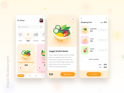 Food Shop Mobile App cart android ios mobileapp illustration simple trendy prototype userinterface ui mobile interaction psd xd menu foodie food app food illustration food and drink food