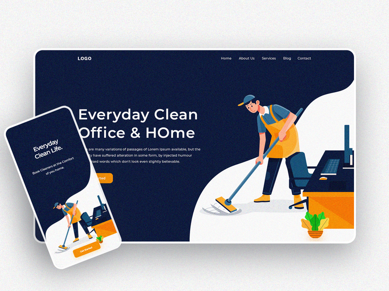 Home Cleaner UI Explore template website uidesign home screen xd animation psd uxdesign hero section hero image artwork office trendy webdesign mobile app app illustration cleaner uiux ui home
