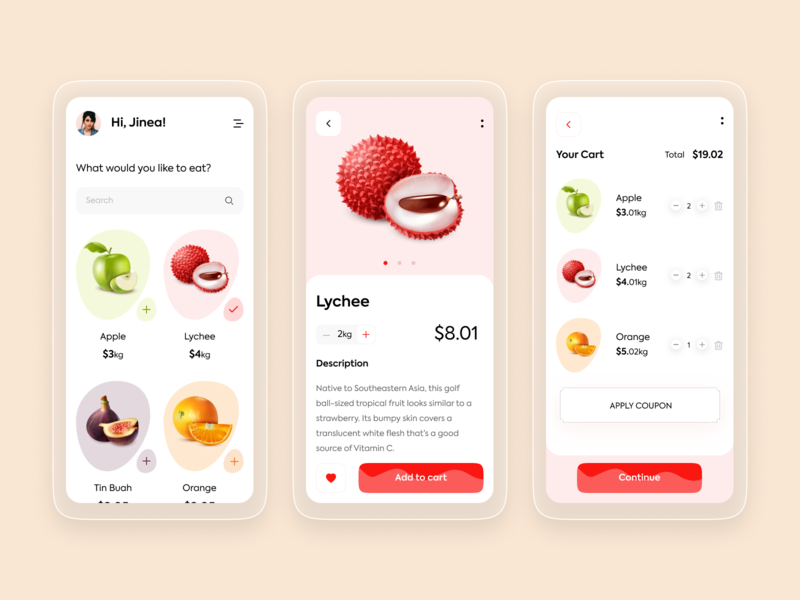 Food App To Buy Fruits figmadesign xd ui kit uxdesign illustration food illustration food and drink food app designui mobile ux ui fruit interactive trendy android ios applications application fruits food