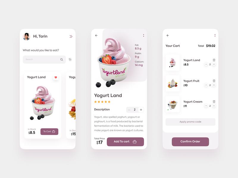Yogurt Mobile App Interface figma xd uikit mobileapp designapp web trendy uidesign appconcept desert sweet yogurt ux ui mobile app