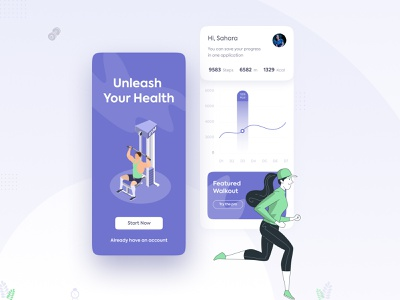 Walkout Fitness App UI Design fitnessapp bodybuilding chart sport running android ios application appdesign simple figma xd free food health fitness trendy mobile app
