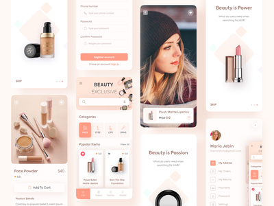 Makeup Beauty Mobile App android ios figma cool color wireframe landingpage free trendy uiconcept mobileui interaction designsystem uisample uikit uidesign makeup mobile spa beautyapp