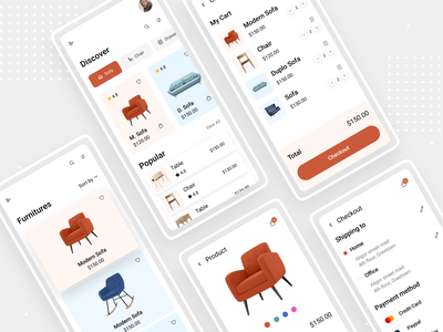 Furniture UI App figma appdesign uidesign freeapp uikit appui iphone wireframe simple clean interface simple ux uiux mobile android ios uiconcept trendyapp woodapp mobileapp furniture