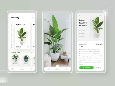 AR Experience Nursery Plant App ar app appdeisgn nursery tree plant uiconcpet wireframe uiux iphone interaction trendy android ios uidesigns application mobileapplication uidesign uikit mobile app