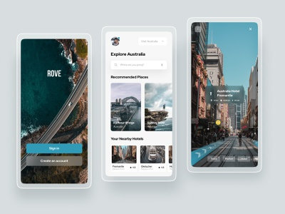 Rove Travel Application minimal simple casestudy travel webdesign web explore trip trendy new hotel interaction figma xd application uidesign uxdesign mobile travelapp
