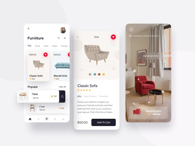 Furniture Mobile Application figmadesign sketch prototype wireframe interaction ecommerce minimal mobileappdesign uidesign uxdesign free uikits simple trendy mobileapp mobile furniture app ux ui furniture