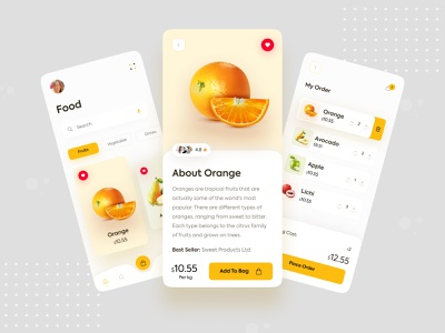 Food Mobile Application visualdesign wireframe iphone food app simple trendy interaction uxdesigns uxdesign ux uiux mobileui appdeisgn mobile uikits ui ecommerce fruits food