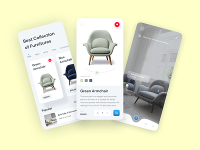 Furnitures AR App UI Concept minimal furniture app vr designsystem wireframe android ios trendy uidesign uiapp mobileui interaction figma mobile ar sketch xd app ux ui