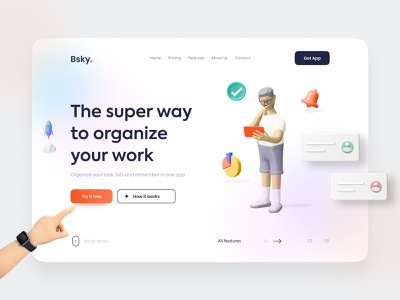 Landing page hero section / Bsky 🚀 trending new sketch website 3d wireframe uidesign webui weblayout uikit schedule task app interaction figma uxdesign ux ui mobile web design