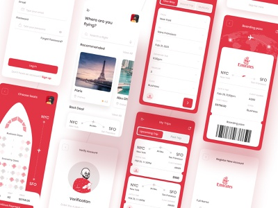 Flight Ticket Booking App ✈ tour travel journey flight search schedule android ios ticket booking airlines booking app flight ui concept figma xd app design ux design uikit uidesign ui mobile