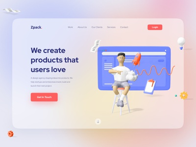 Landing Page UI Design products trendy 3d ui concept contact page uidesign website layout web sketch figma xd interaction ui uikit home landing page web design
