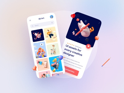 3D Assets Mobile Interface download assets mobile application sketch ux uidesign responsive ui concept minimal clean simple illustration simple figma xd motion mobile mobile app interaction uikit mobile ui
