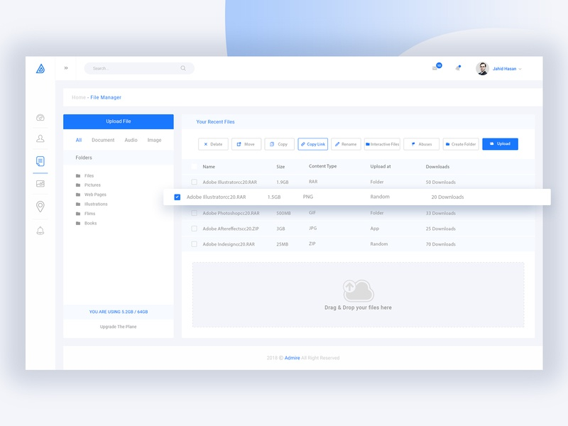 File Manager Dashboard by Tauhid sajib on Dribbble