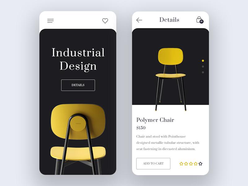 Product Application Design free mockup iphone product details chairs product application ui web ux industrial design app