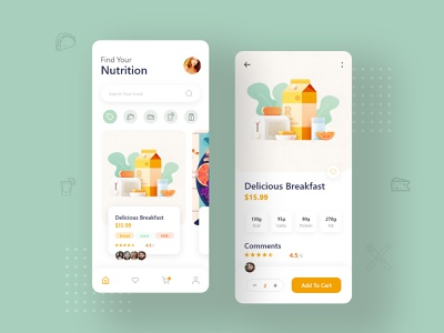 Food Order App Pages reviewapp illustrationfood natural iphone trendy android ios food and drink blog mobile app design application foodorder ux ui uiapp nutritionapp food app