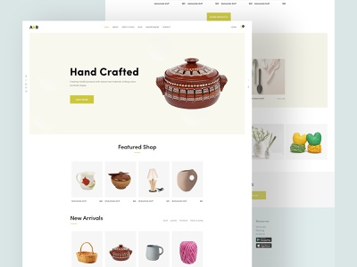 A&B Handicraft UI Explore creative clean minimal webdesign userinterface landingpage onepage heroimage interaction uiconcetp psdtemplate xdtemplate xd ui popular featured handicraft product craft