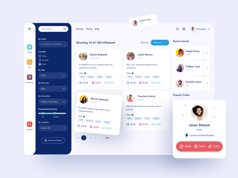 Influencer Dashboard UI 01 search sidebar applicationdesign webdesign influencer marketing clean colorful card design profilecard dashboardui filters search results searchpage influencer webapplication website webapp dashboard uiuxdesign uiux