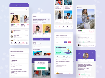 Dating App All Screens illustration user interface ui ux mobile ui mobile design chatting chat message matching appdesign mobile mobileappdesign mobileapp dating datingapp