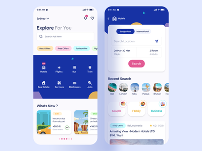 Classified App colorful search ads modern app marketplace offers jobs electronics services realestate train search bus search hotel flight search app design mobile design hybridapp mobileapp classified ads classifieds classified