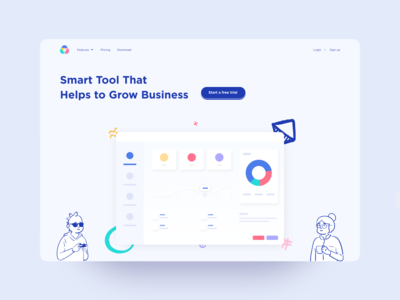 Smart Tool Web illustration design ofspace figma application header web header illustration web design dashboard website user interface clean ux minimal creative landing page web ui