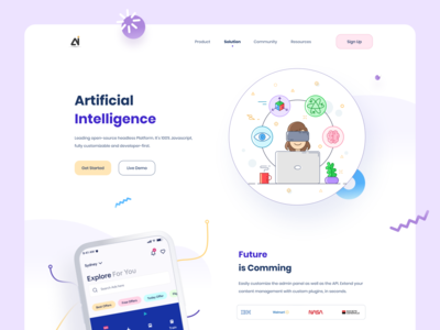 AI Web ui creative memphis website mockup mockups 2020 webdesign clean colorful design gradient illustration webdesign web website design landing page landingpage website ai web design artificial intelligence ai