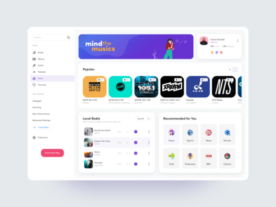 Podcast Web web illustration music app design music application ux design uidesign profile tab sidebar local radio popular music icons catagory gradient website concept webapp radio app music app ui music app
