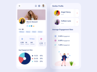 Influencer Dashboard Responsive UI 02 ui graphic statistics rebound android ios redesign clean illustration application profile page app profile influencer app influencer web app design responsive design responsive version web app mobile app