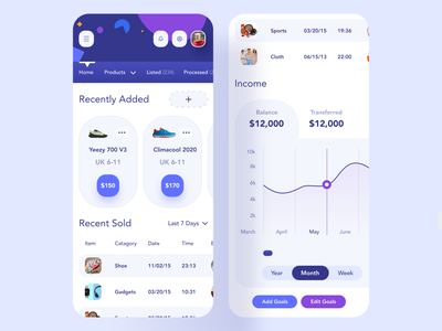 Seller Store Responsive UI responsive web design iphonex mockup product design mobile creative uiux responsive second navigation recently added add recently sold income chart dashboard ecommerce website application responsive app webapp
