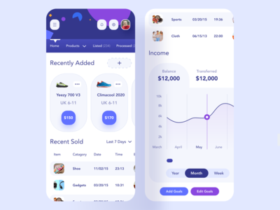 Seller Store Mobile UI creative uiux recruitment app mockup iphonex responsive mobile app design second navigation recently added add recently sold income chart dashboard seller ecommerce website application responsive app webapp mobile app