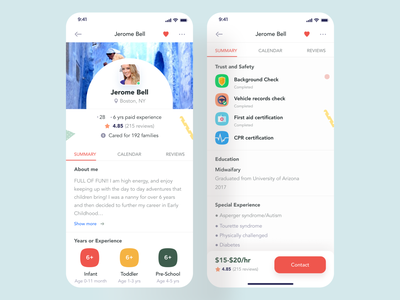 Maid App (Profile) maidfind mobiledesign mobileapplicationdesign conceptualapp appidea productidea cleanapp fixedbottombar colorful avatarstyle tabstyle badges experiencesection educationsection maidprofile profile appdesigner appdesign mobileappdesign mobileapp