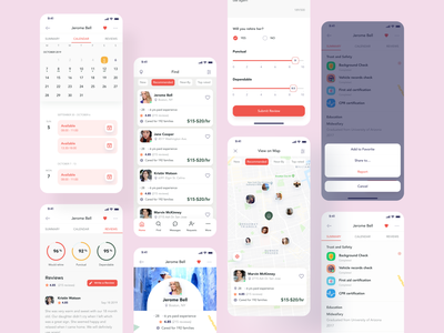 Maid App All Screens productidea productdesign visualdesign uxdesign uidesign filters maidprofile appprofile calendarapp mapfinding iosdesign appdesign hybridapp mobileappdesign mobiledesign mobileapp maidapp maidservices maidfinding