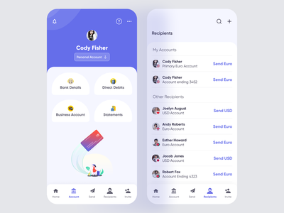 Banking App (Accounts & Recipients) trendydesign illustration ui design mobileprofile mobileappprofile bankingprofile bankingaccountprofile account profile recipients fintech app financial finance app fintech banking bankingapp bankingappdesign appdesign mobileappdesign uiux ui