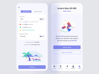 Banking App (Send & Invite) earnmoney invitefriend sendmoney illustrations banking financialapp finance bankingappdesign hybridappdesign mobileappdesign hybridapp mobileapp fintechapp fintech