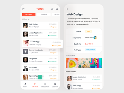 Task Management App (Inner Screens) related task attachments tapbar add task list view list item presentation iphone mockup hybridapp uiux mobile ui typography task detail my task mobileappdesign mobileapp task management app task management task manager
