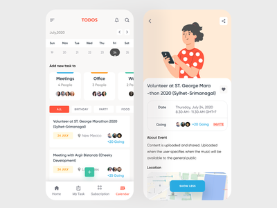 Task Management App (Inner Screens) hybridapp mobile app task manager task create event create eventapp event task management taskmanagement taskapp illustration user interface clean ux creative ui