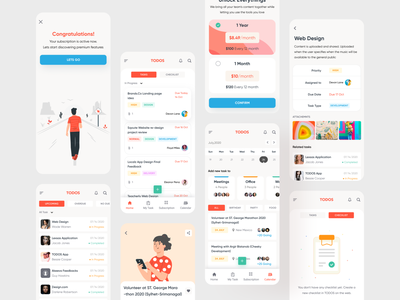 Task Management App (All Screens) appdesigner mobile ui mobile design design illustrations 2021 typography hybridapp mobile app app taskapp task management task manager task list tasks task minimal creative ui