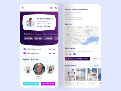 Medical App (Inner Screens) minimal design gradient product product design ux design uidesign app design mobileappdesign mobileapp doctor doctor booking doctor app doctor profile clinic profile clinic app medical design medical app medical
