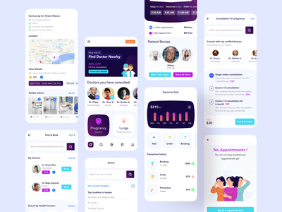 Medical App (All Screens) ux creative illustration product thinking productdesign uiux dailyui doctor profile book doctor doctor app cross platform app hybrid app development hybrid app design app design doctor app design mobile app design medical app design