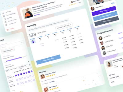 Online Courses Dashboard reviews share course check availability book lesson assigned students course filtering education website education dashboard component figma design system webapplication webapp schedule web dashboard kit dashboard ui dashboard education app education online course