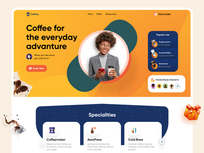Coffee Shop Website web ui logo design coffee shop series design creative design website header floating design coffeewebsite landingpagedesign landingpage websitedesign website coffeeshop coffee