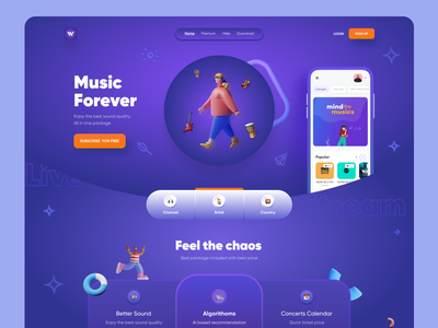 Music Streaming Website landingpageidea landingpagedesign landingppage webapps responsive design mobile app glassmorphism gradient header exploration website header uiux ui design website designer webapplication design webapplication music app streaming website website design music website music streaming