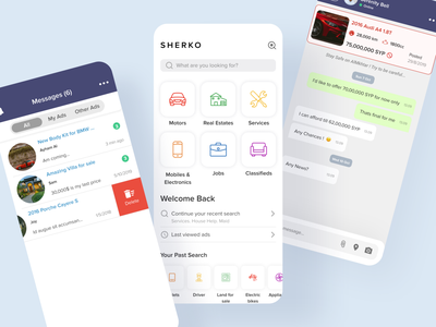 Classified App Messages & Home application design mobile application filters filter filtering sell post sell buy classified ads chat screen mobile messages mobile ui uidesigner uiux mobile app designer mobile app classified classified app design classified app