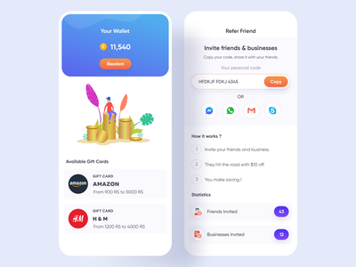 Directory App (Wallet & Refer) app gift cards gift gift cards mobile app design ui design app design refer friend refer app wallet my wallet boucher app promotion app support community local business app directory app