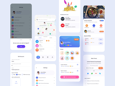 Directory App ( All Screens ) earn coin restaurant page setting gift cards refer app screens mobile app design app design uiux mobile app designer ui kit app kit promotion mobile app promotion app directory mobile app mobile app mobile directory app directory ui design