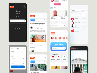 Brand Directory All Screens ux ui web application responsive app responsive application mobile application uiux marketing app sell offers discount business app business promotion app promotion app directory app brand app ui design responsive design mobile app brand directory