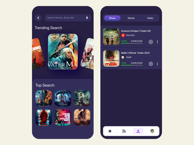 Entertainment App I Search & Download streaming app typography product design ux design ui design dark app download search app ui hybrid app app design mobile app design mobile ui design movie platform ott movies app movies movie entertainment entertainment app