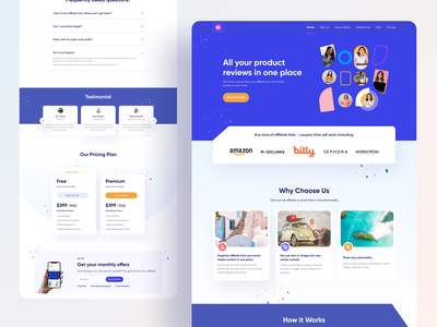 Affiliate Landing Page pricing testimonial faq review platform product review review refer coupons affiliate links beauty products uiuxdesign webdesign product landing page product page marketing page homepage affiliate page ui design website design landing page