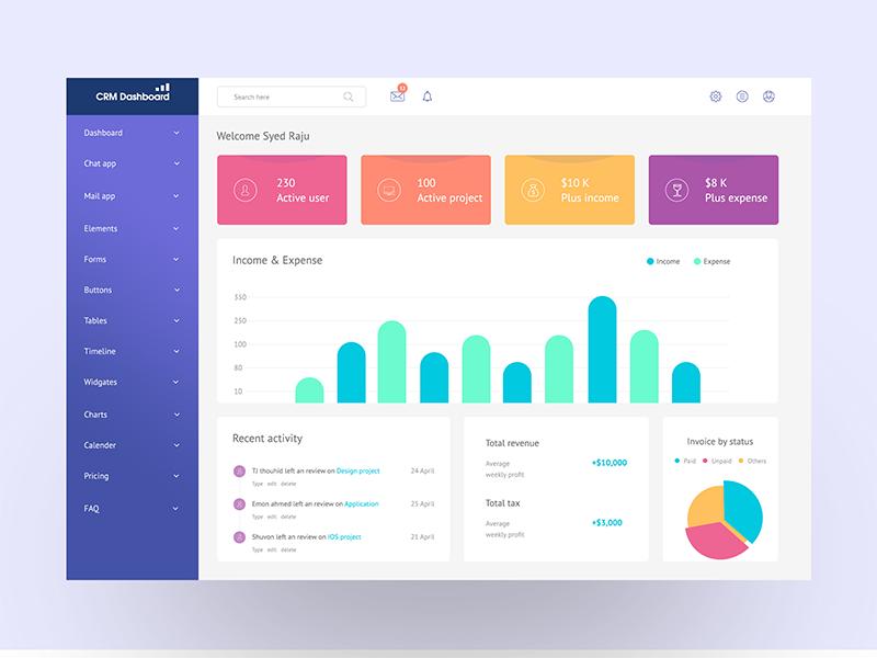 Project management dashboard profit tax income invoice 2018 best ux design gradient clean ui ui dashboard management project