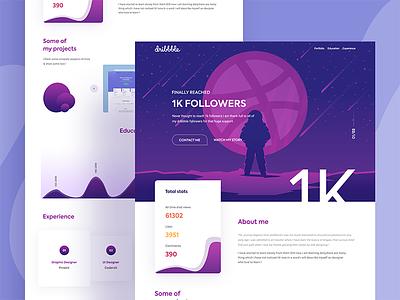 1k follower gradient graph illustration ui creative color full 1000 follower 1k landing page website